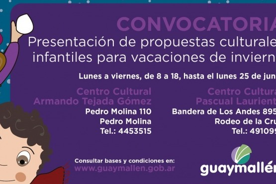 Guaymallén recibe propuestas culturales infantiles para las vacaciones de invierno