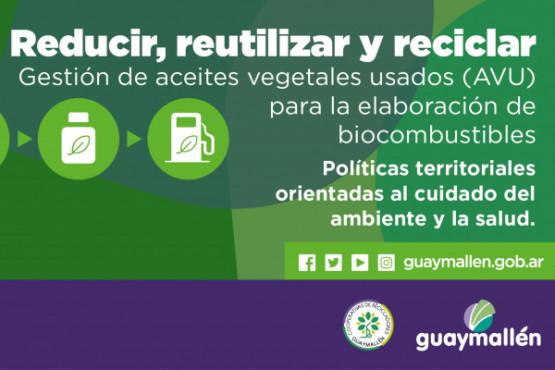 Guaymallén suma su compromiso con la gestión de Aceites Vegetales Usados.(A.V.U.)